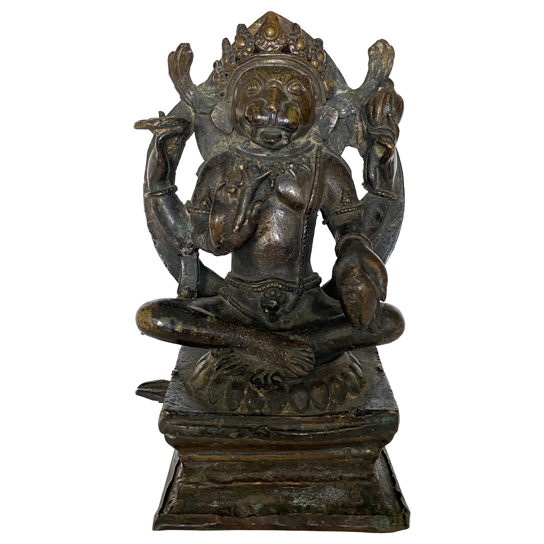 Indian Bronze Figure of Yoga Narasimha, 17th-18th Century