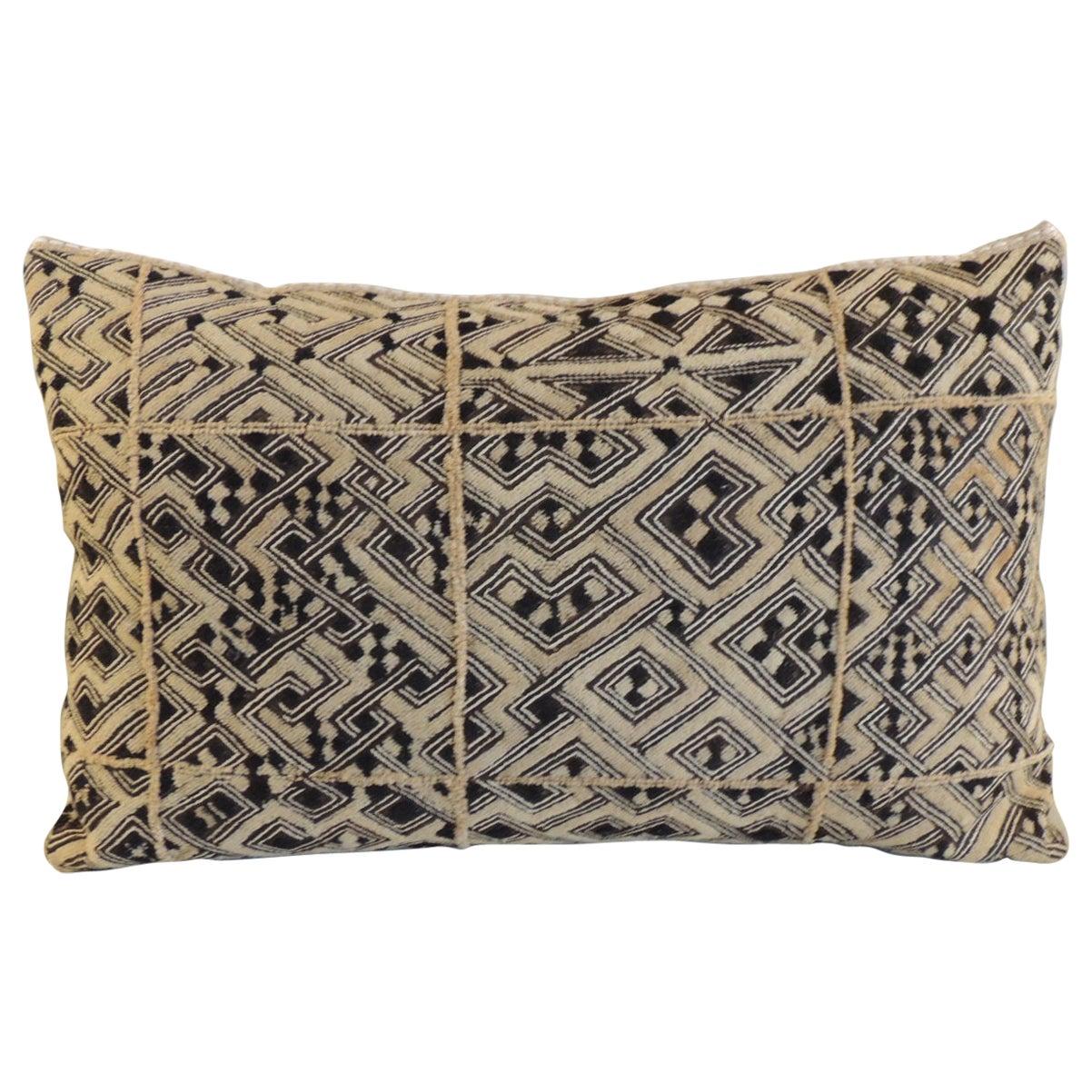 Monumental African Raffia Velvet Long Bolster Decorative Pillow