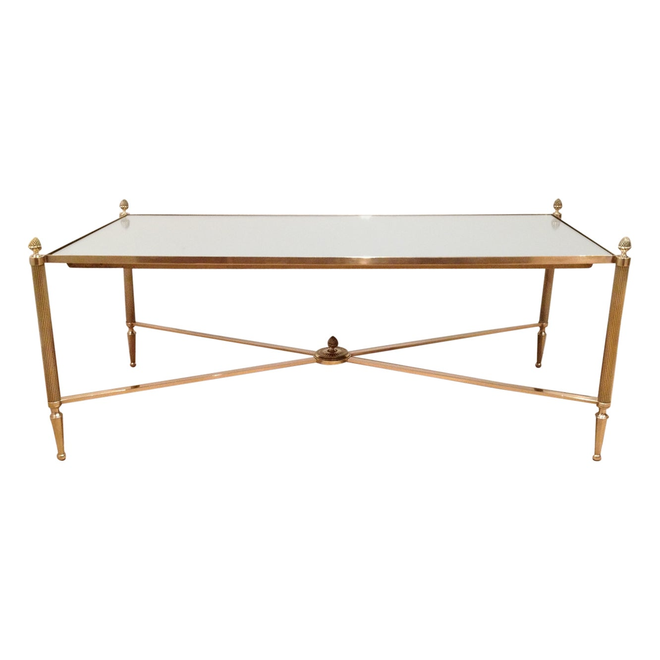Maison Jansen, Neoclassical Style Brass Coffee Table with Mirror Top, French
