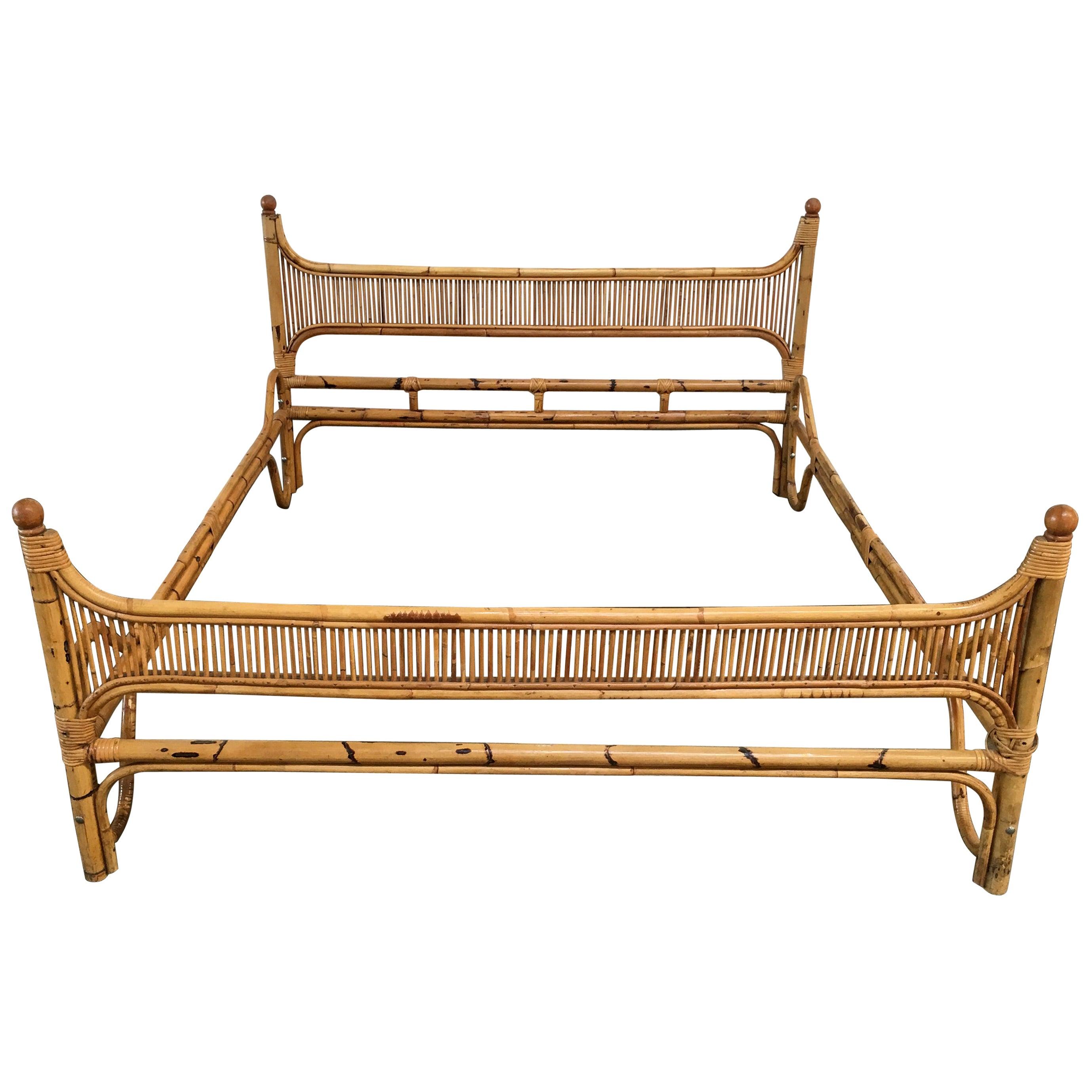 Mid-Century Modern Italian Double Bamboo Bed Frame, 1970s