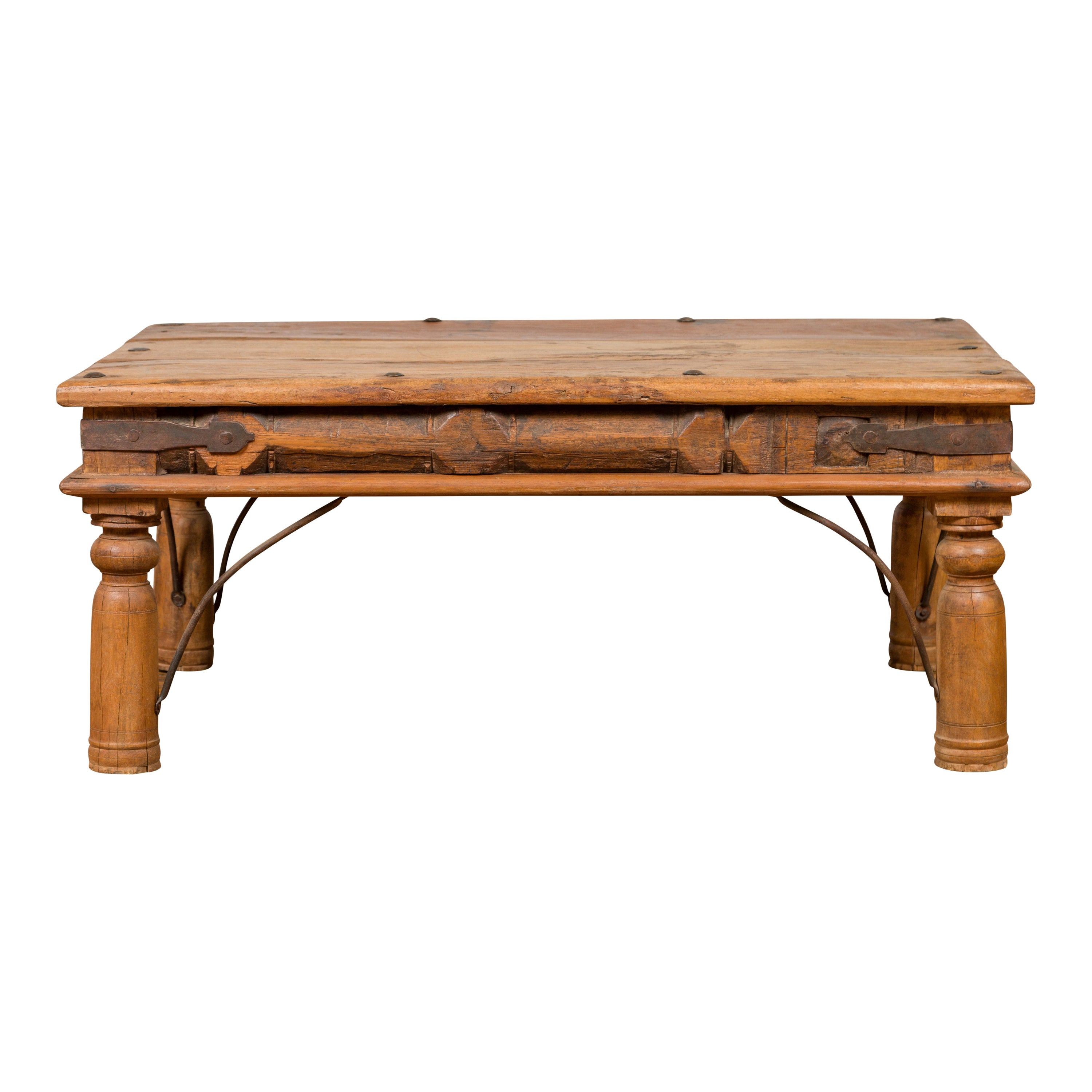 Rustic Indian Sheesham Wood Coffee Table with Nailhead Design and Baluster Legs