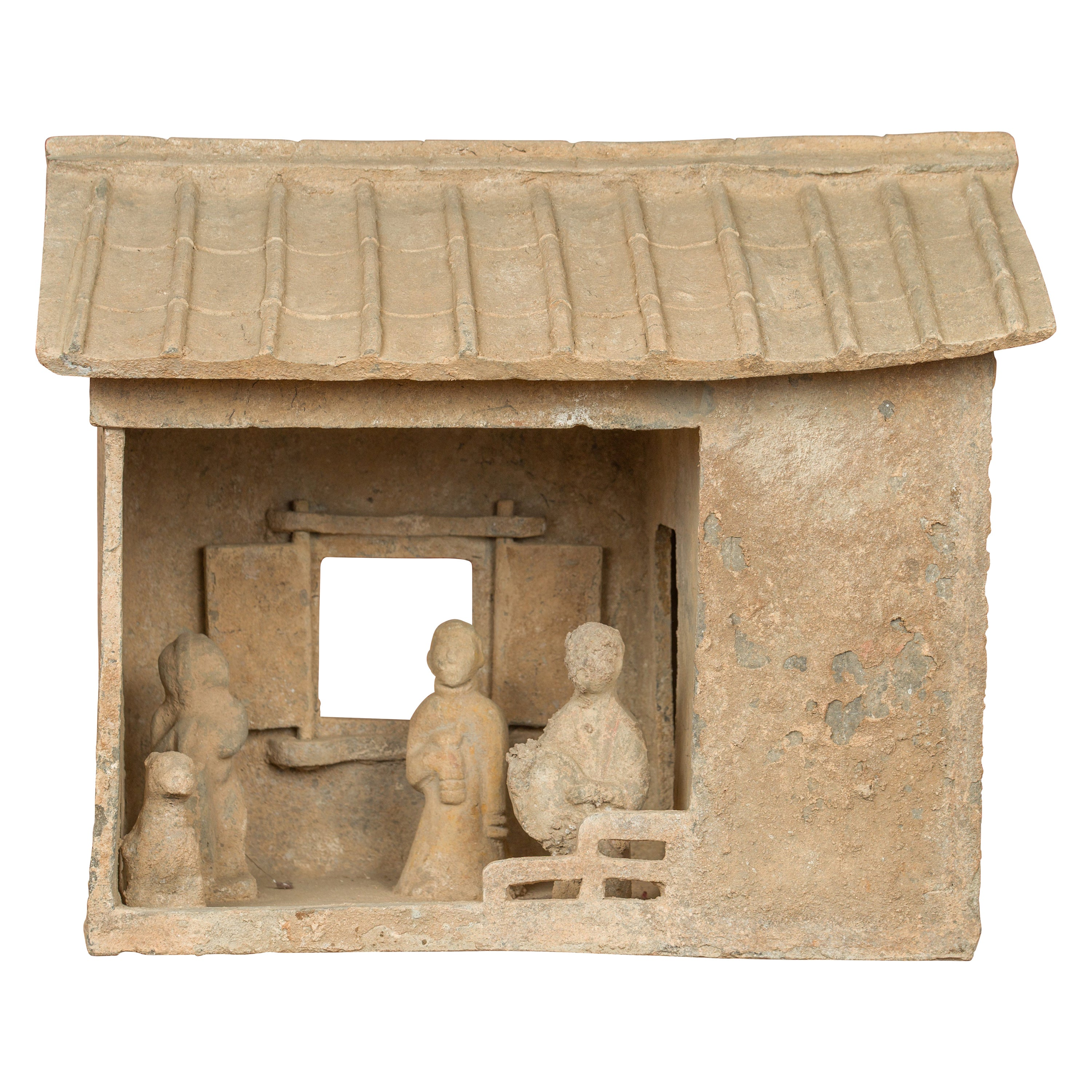 Chinese Han Dynasty Mingqi House Model with Its Inhabitants, circa 206 BC-AD 221