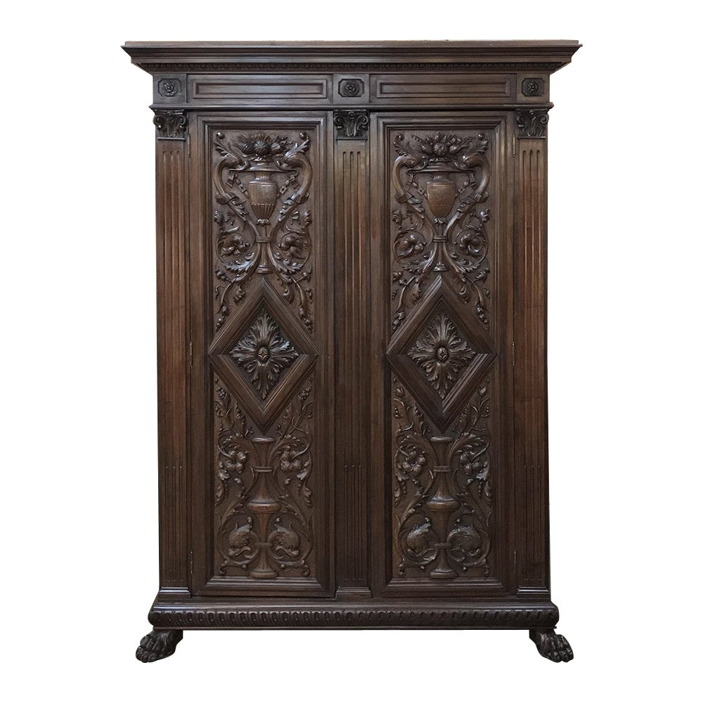 19th Century Italian Renaissance Walnut Armoire