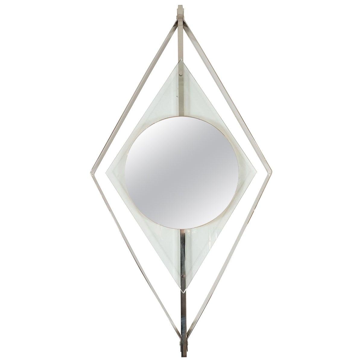 Diamond-Shaped Floating Surround Mirror