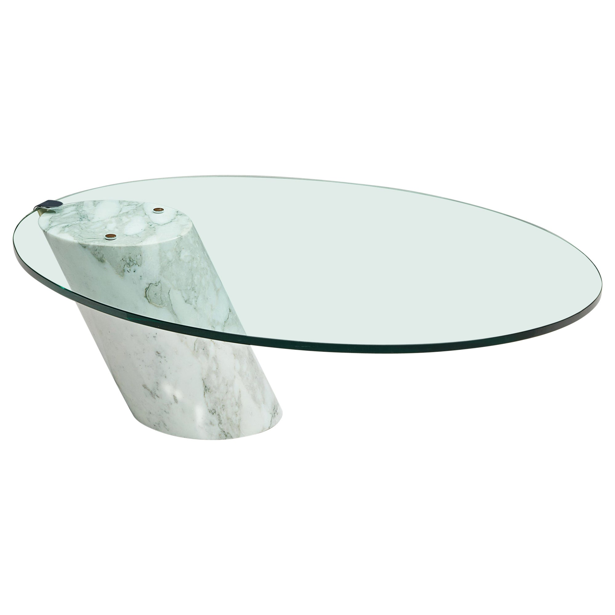 Coffee Table 'K1000' in Carrara Marble and Glass for Ronald Schmitt