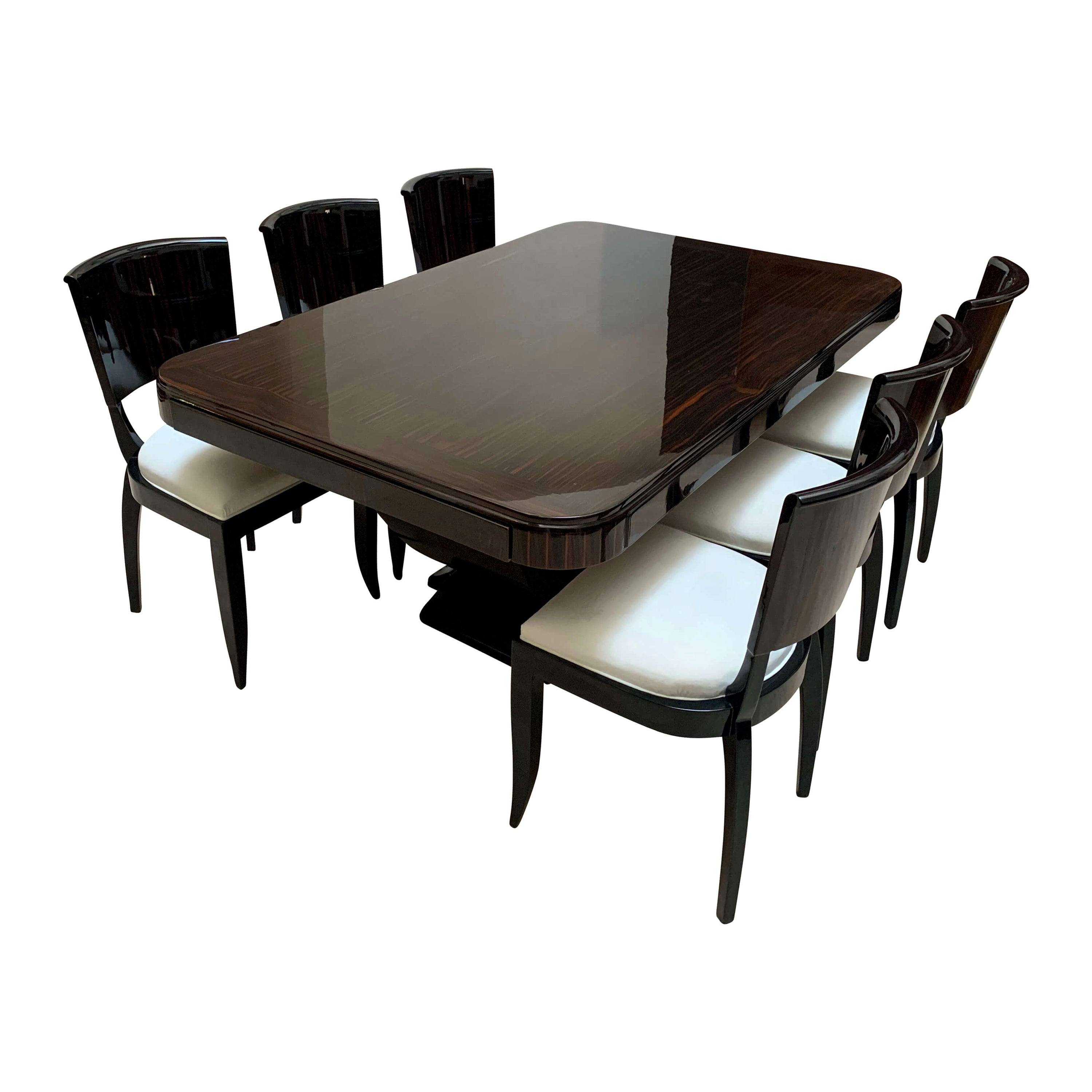 Expandable Art Deco Dining Room Set in Macassar, France circa 1925