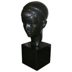 Bronze Head of a Boy on Pedestal, circa 1935