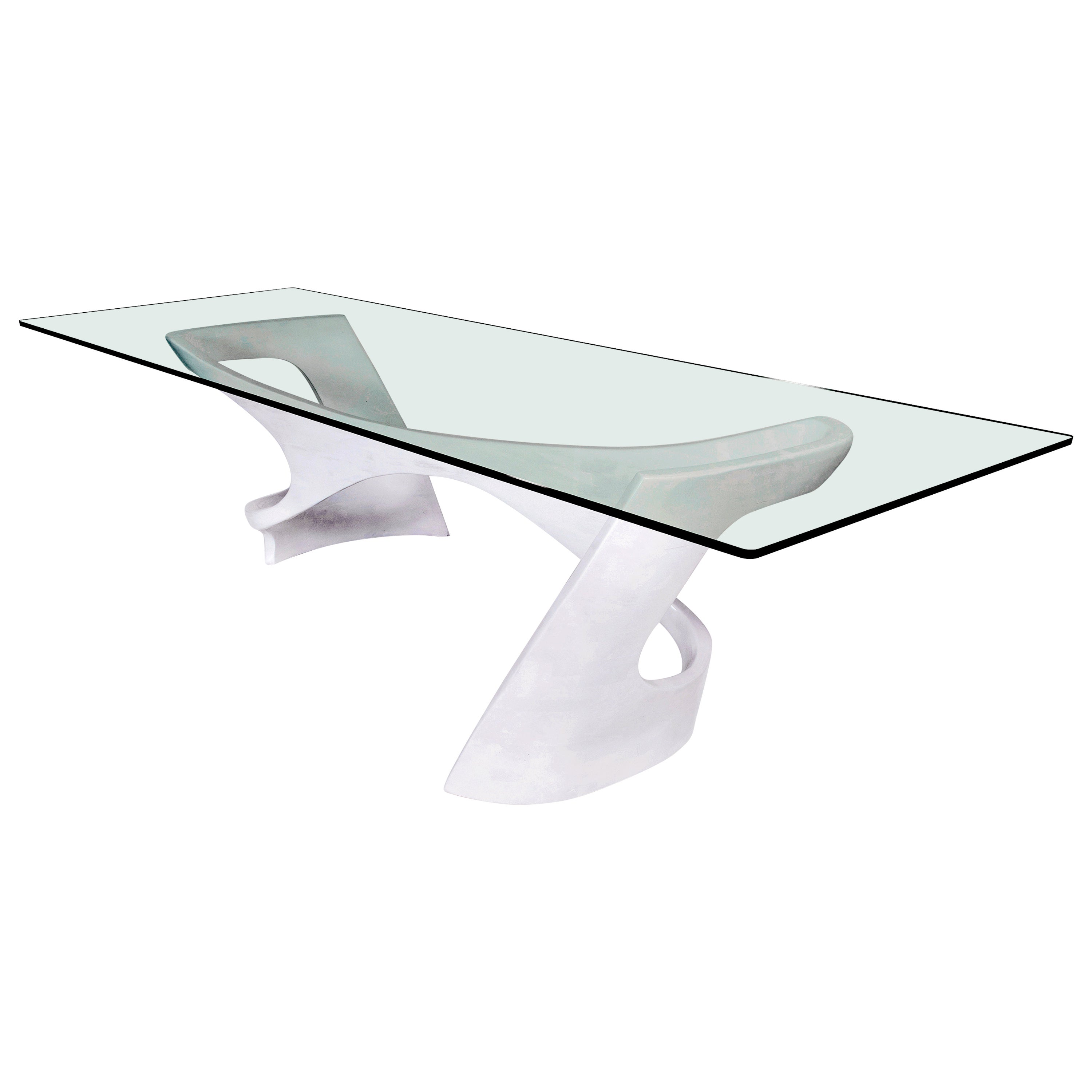 N2 Dining Table, Handcrafted Base in Solid Wood with Glass Top
