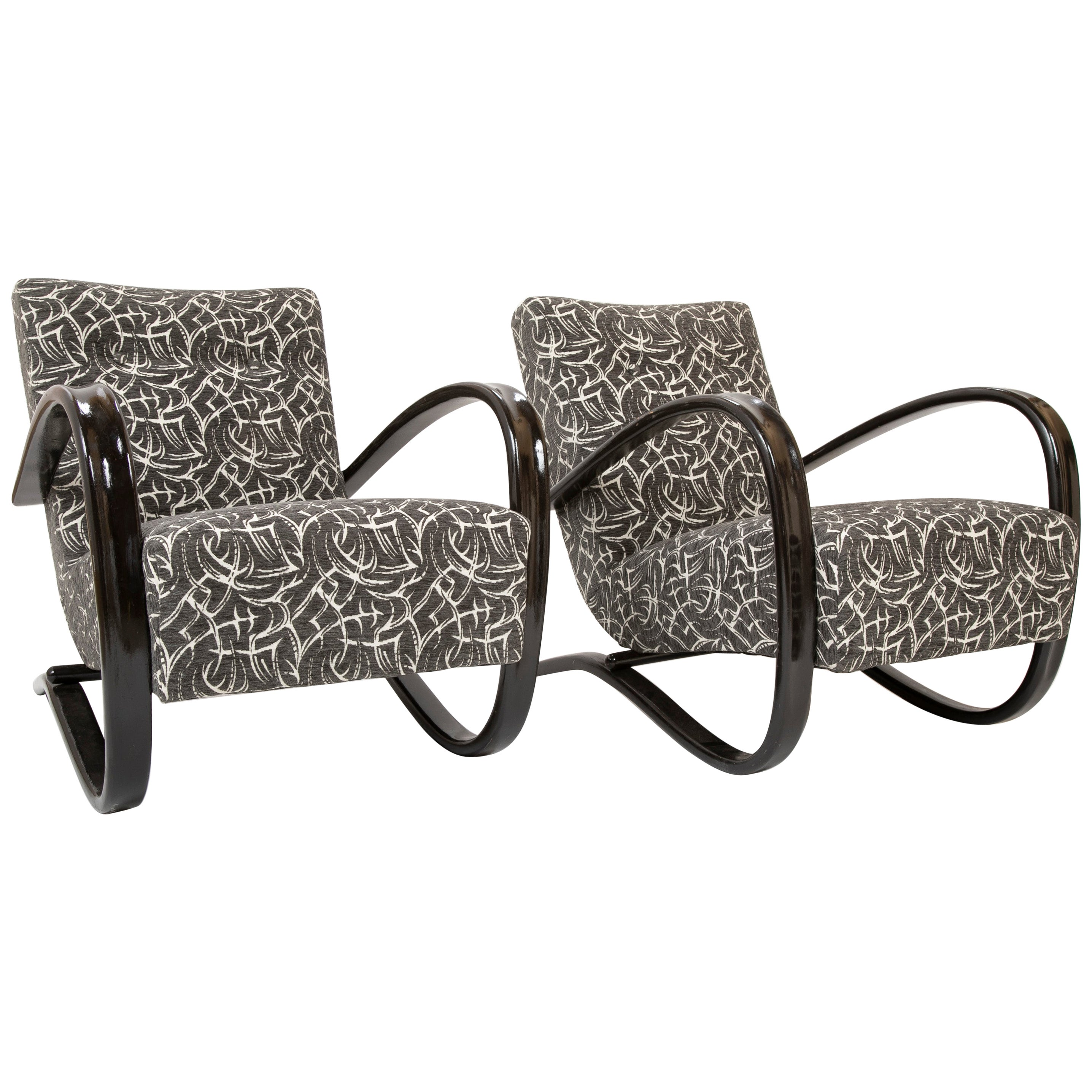 Pair of Halabala Chairs Designed by Jindrich Halabala