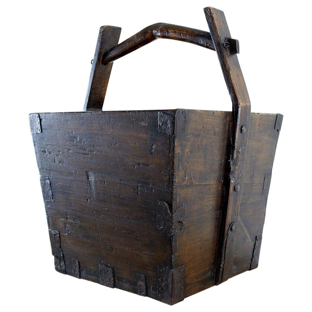 Chinese Elm Grain Bucket with Handle