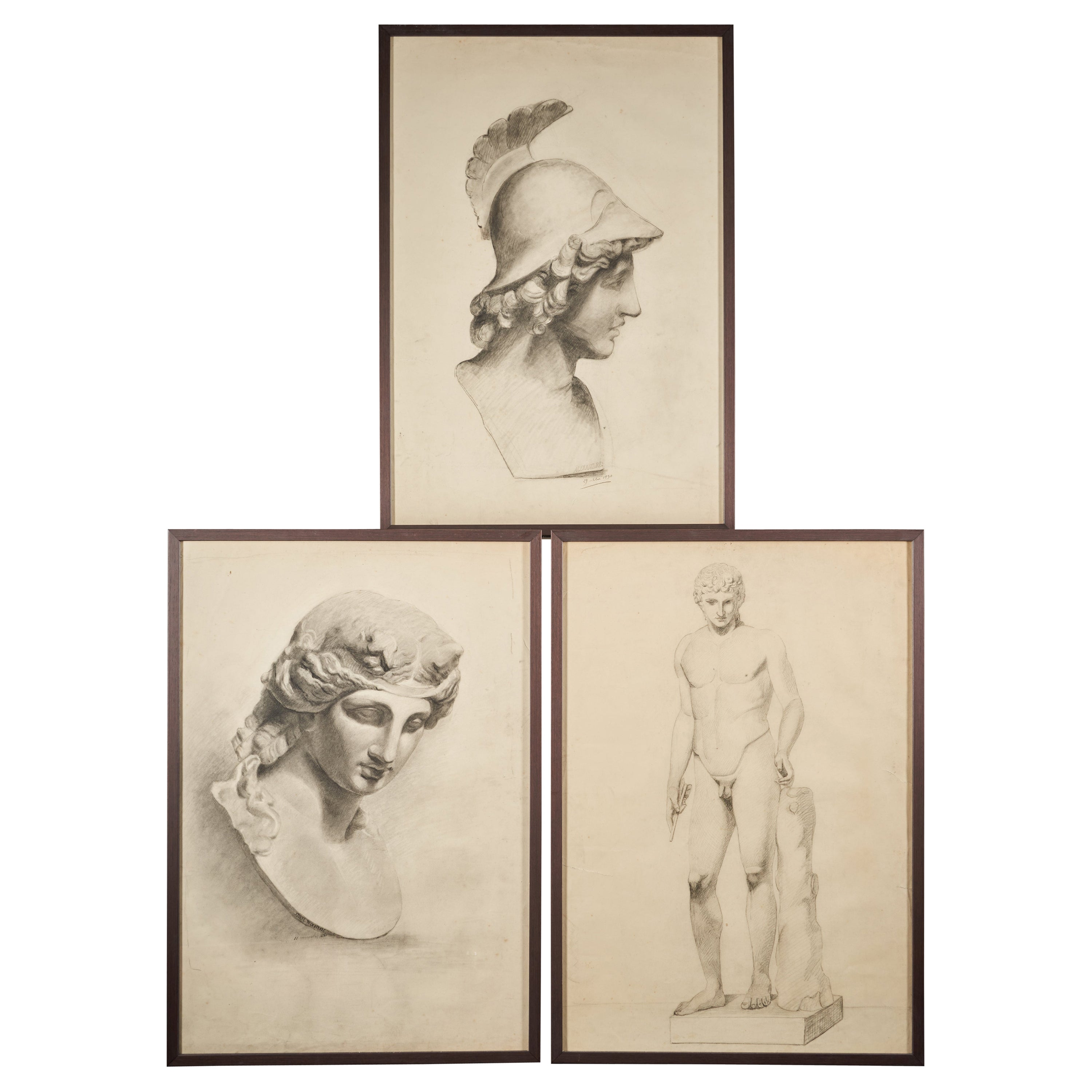 Selection of Three Academic Drawings, Charcoal Pencil on Paper, Framed
