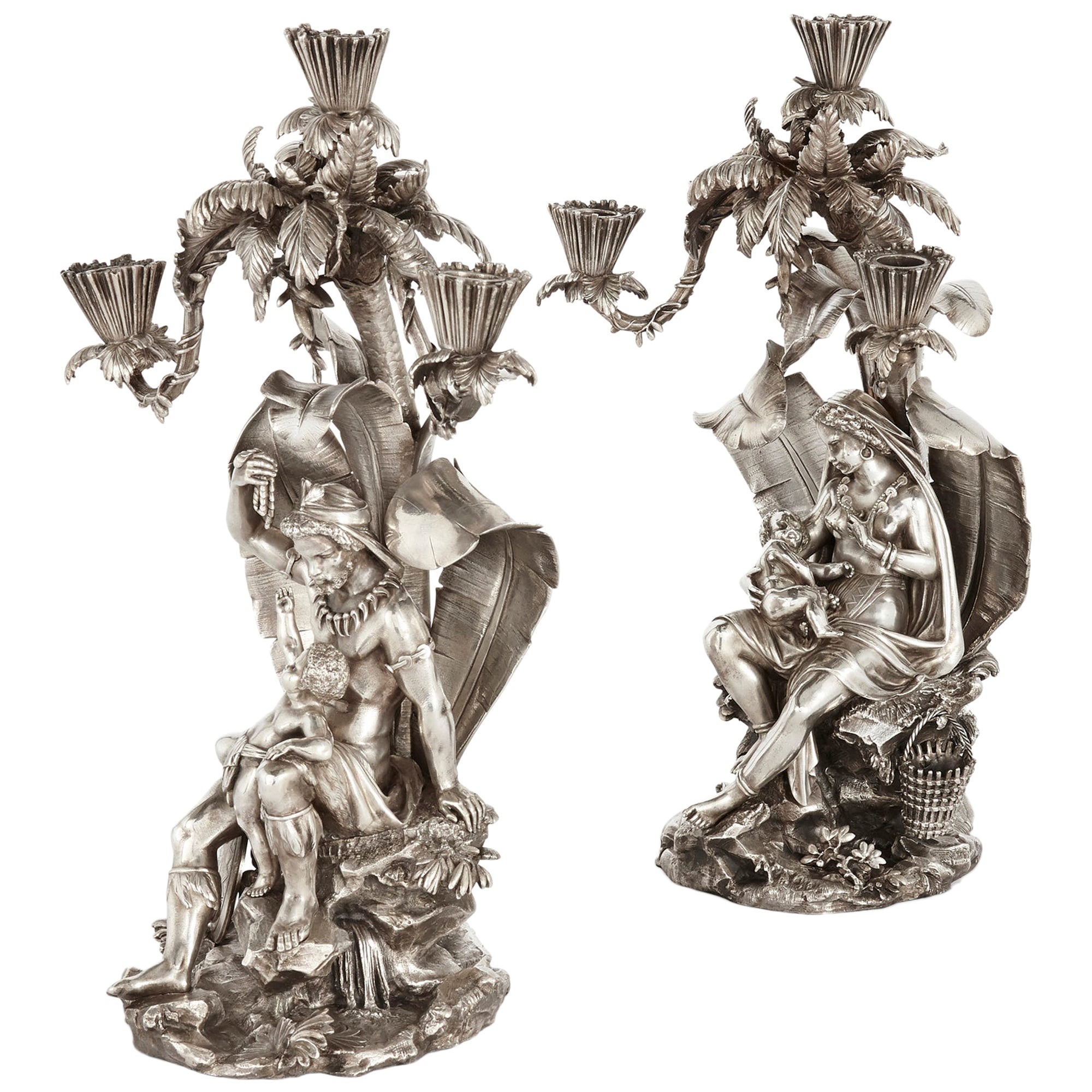 Pair of Figural Candelabra by Elkington, Mason & Co
