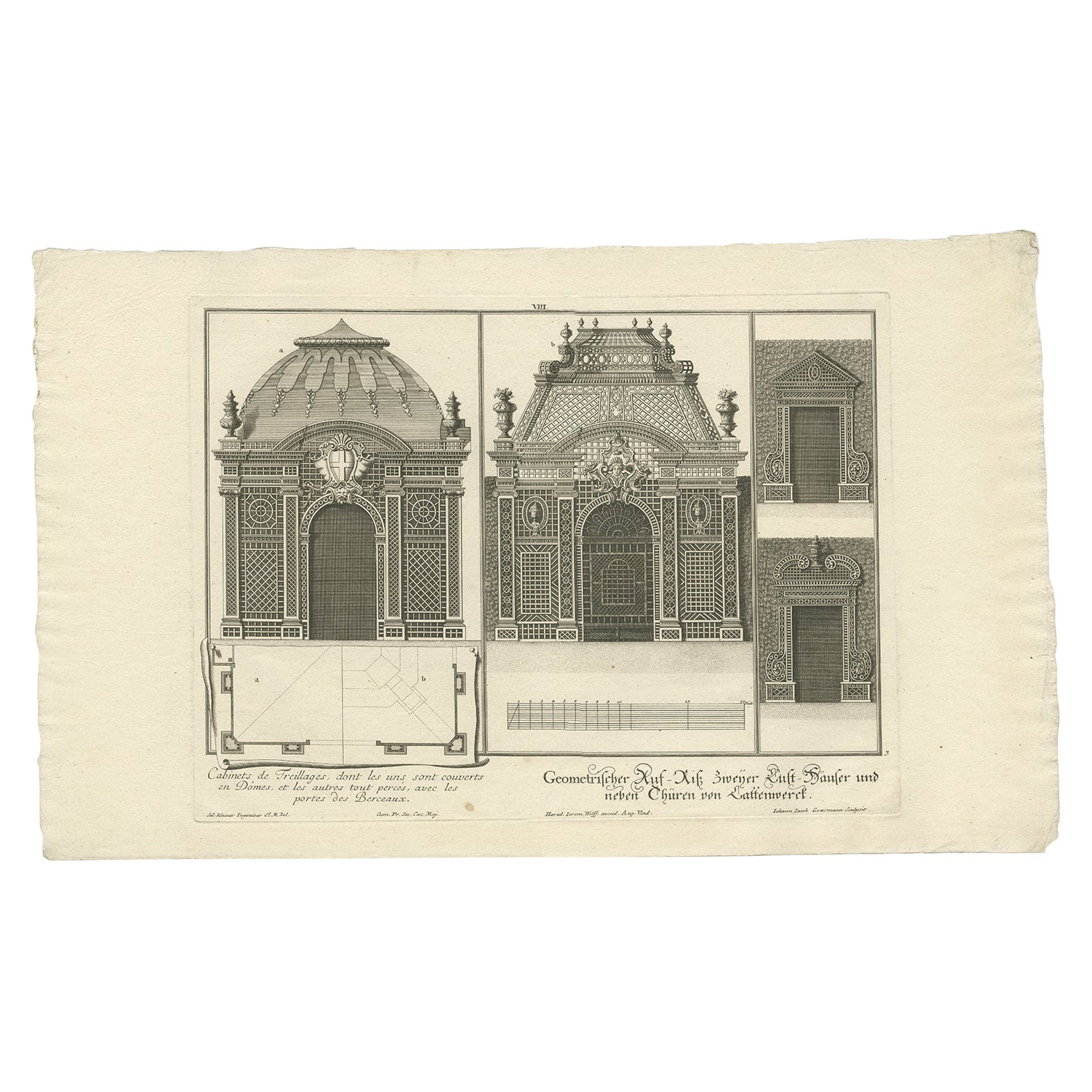 Antique Print of Two Pavilions and Gates by Wolff '1737'