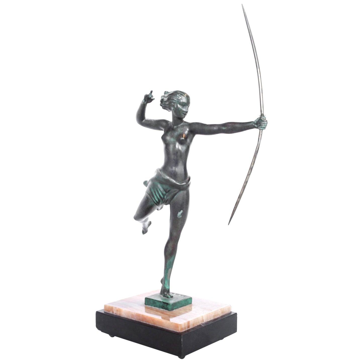 "Art Deco Bronze Sculpture of Diana the Huntress Signed ""Domaro"""