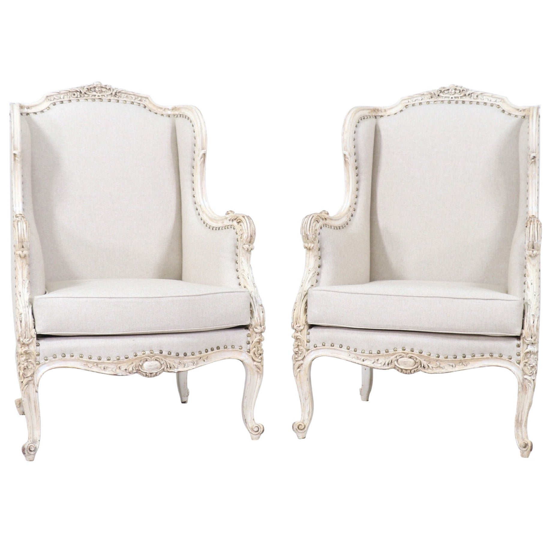 1920s French Louis XV-Style Painted and Carved Bergeres Chairs