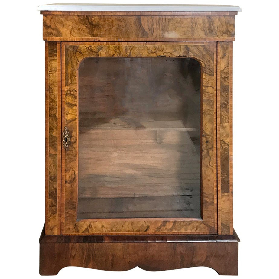 19th Century English Inlaid Burlwood Marble Top Curio Cabinet
