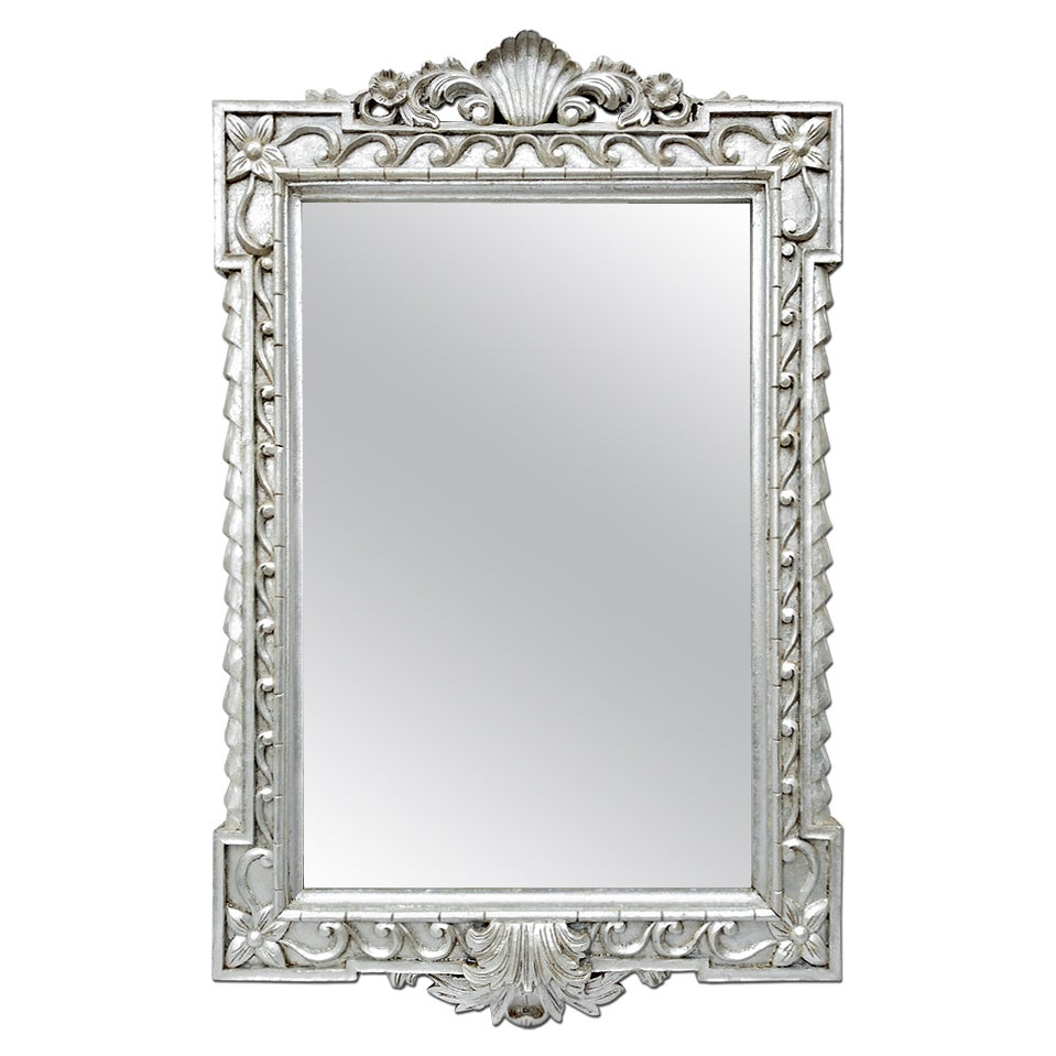 Large Carved Wood Silvered Mirror, circa 1980
