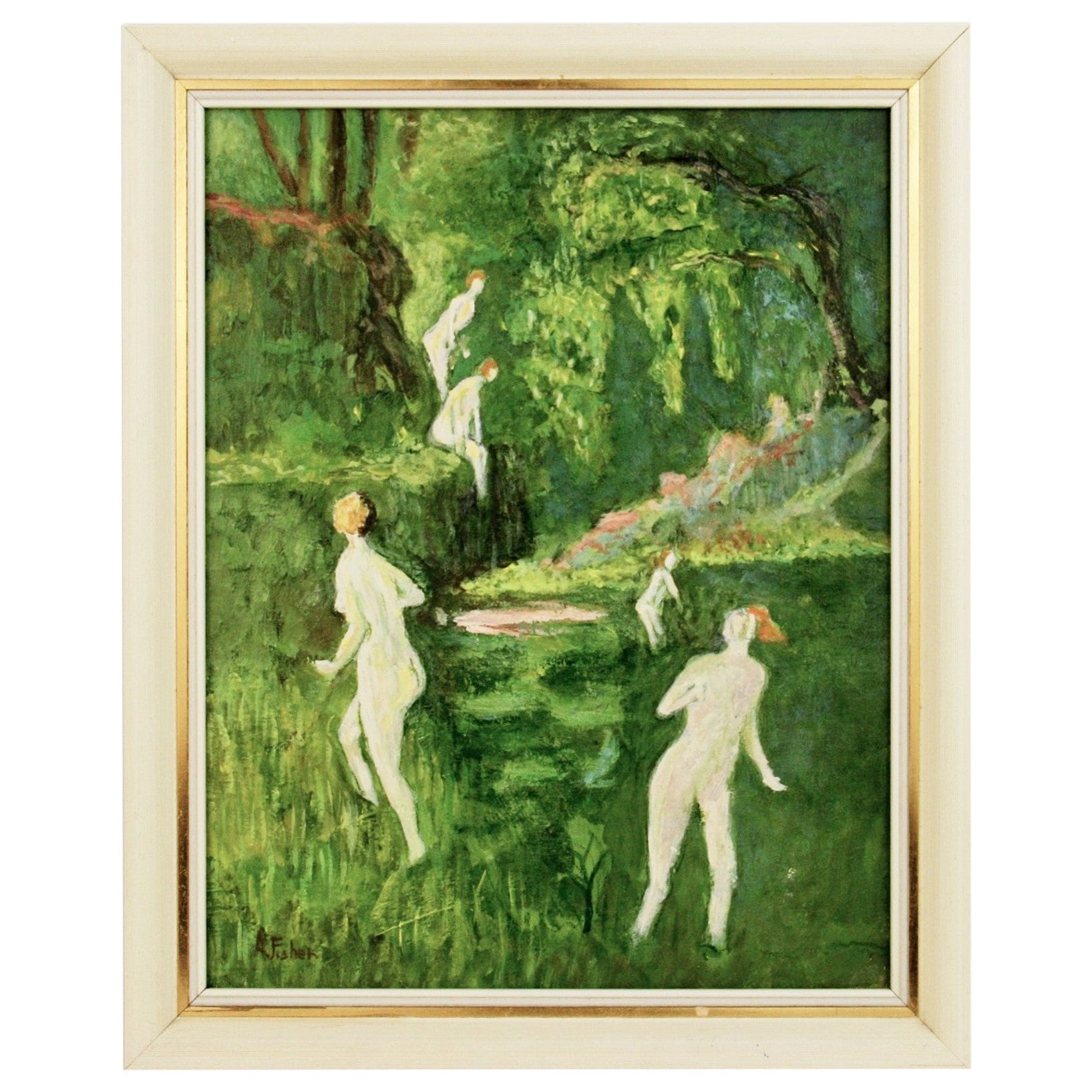 Nude Bathers in a Forest Stream