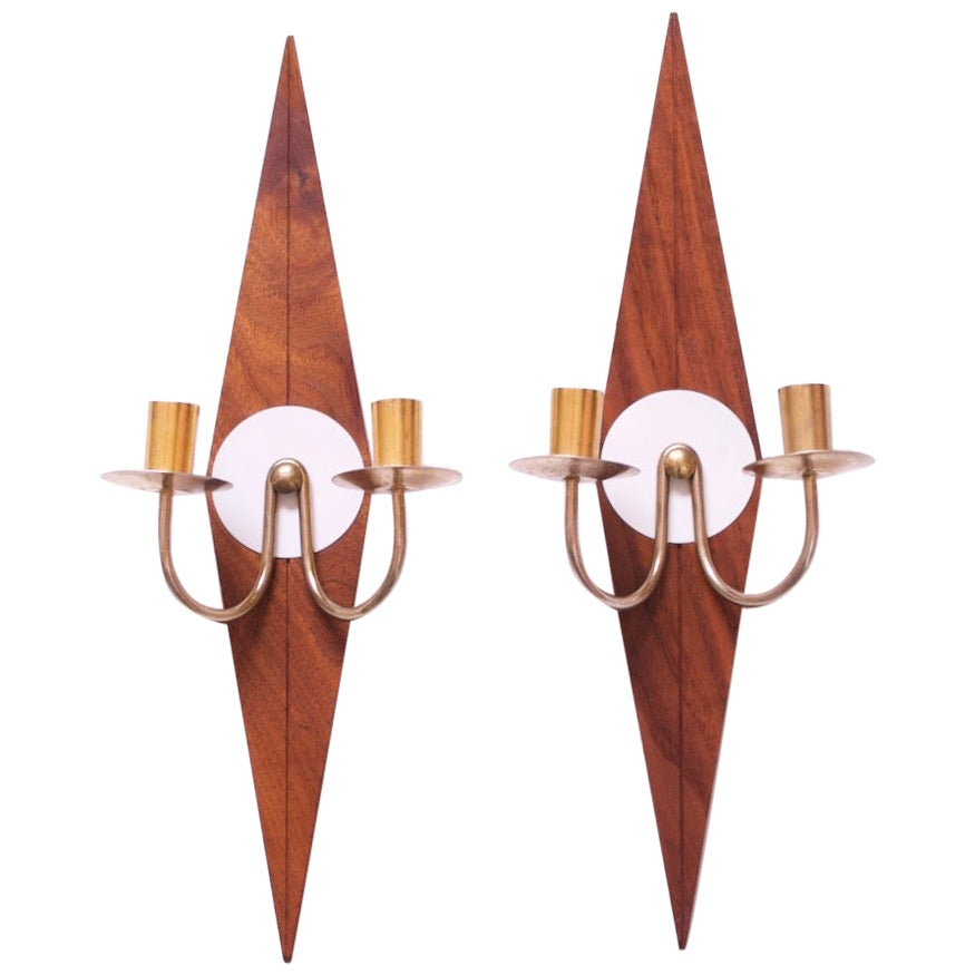 """Pair of Mid-Century Modern """"Diamond"""" Candle Wall Sconces / Candleholders"""