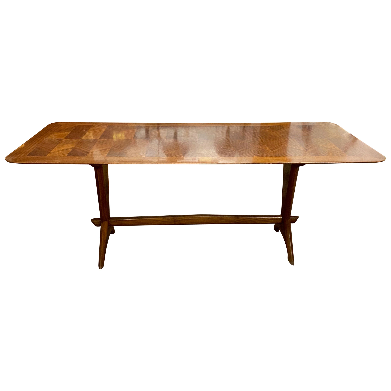 Gordon Russell Cross Banded Mahogany Trestle Base Dining Table, circa 1950s