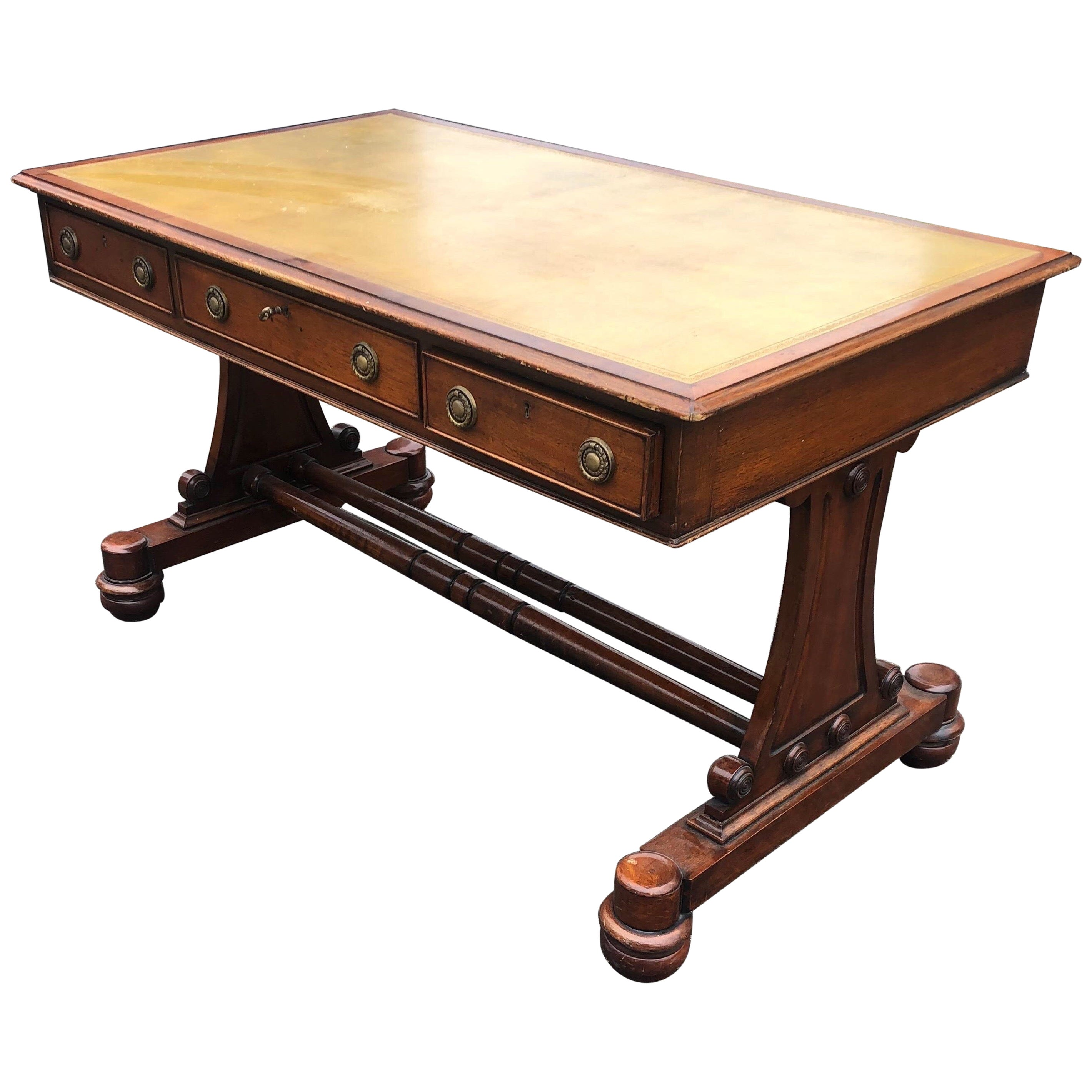 19th Century English Regency Mahogany Leather Top Writing Desk