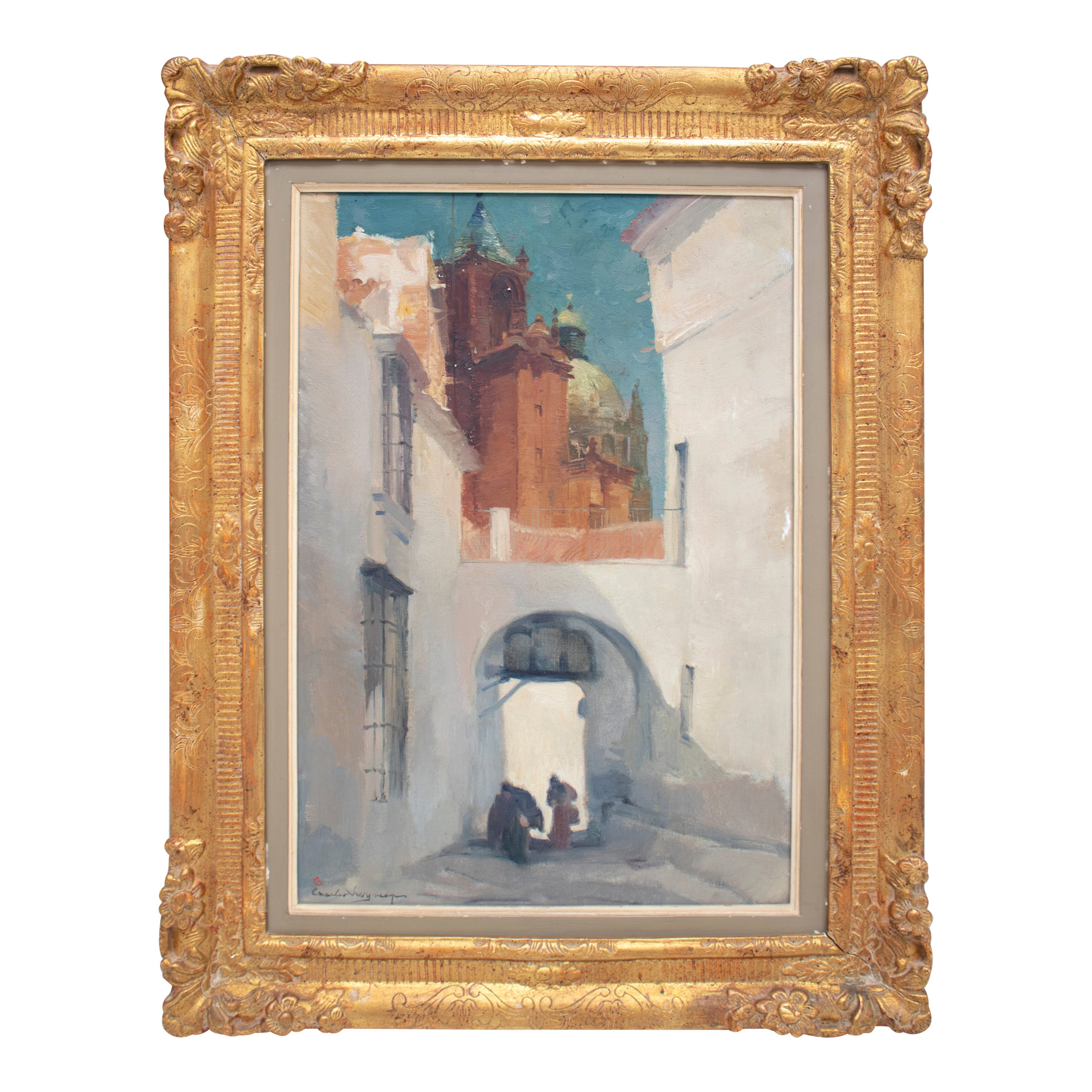 Charles Swyncop Oil on Canvas Painting of an Andalusian Town