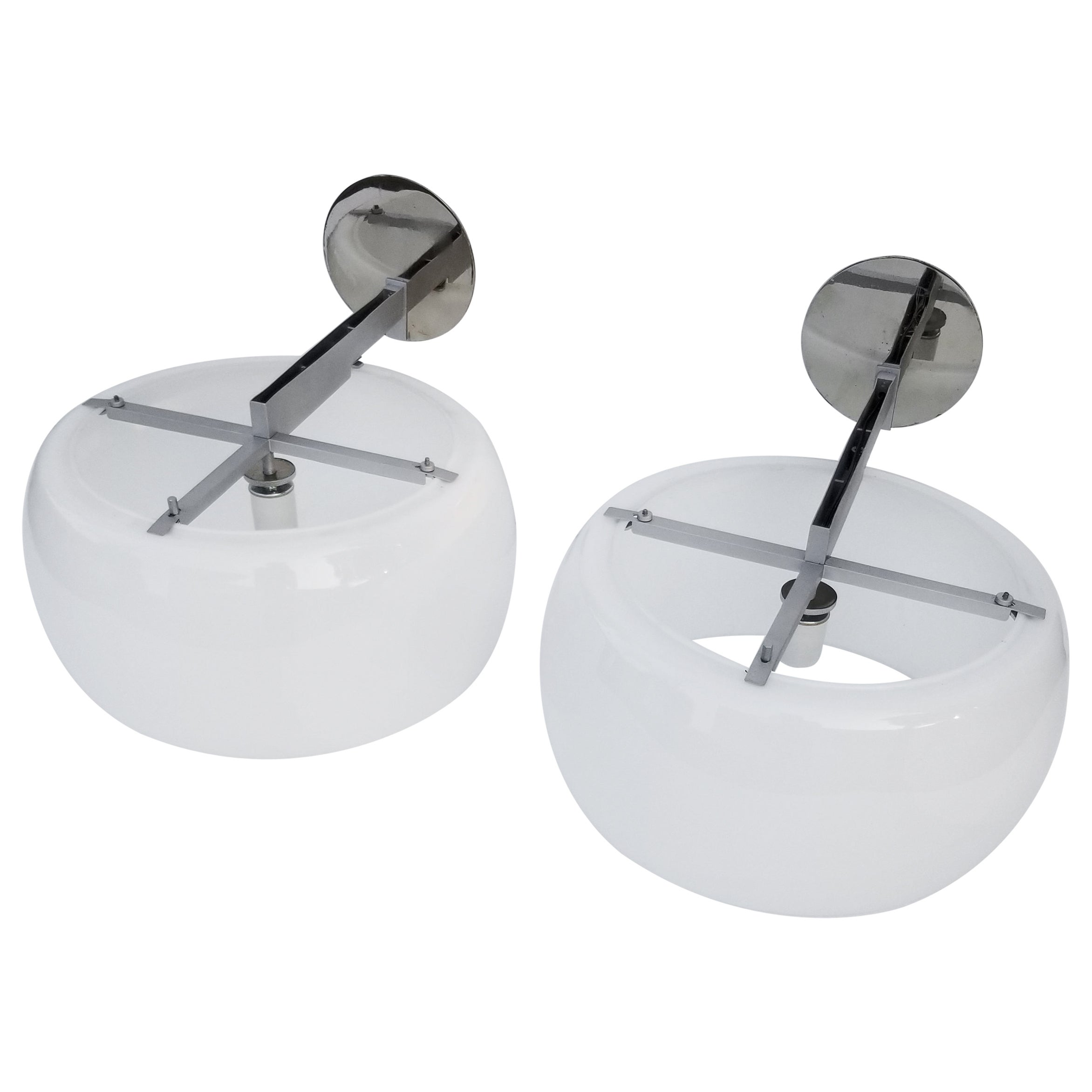 Pair of Vico Magistretti for Artemide, Model Clinio, Opaline Sconces