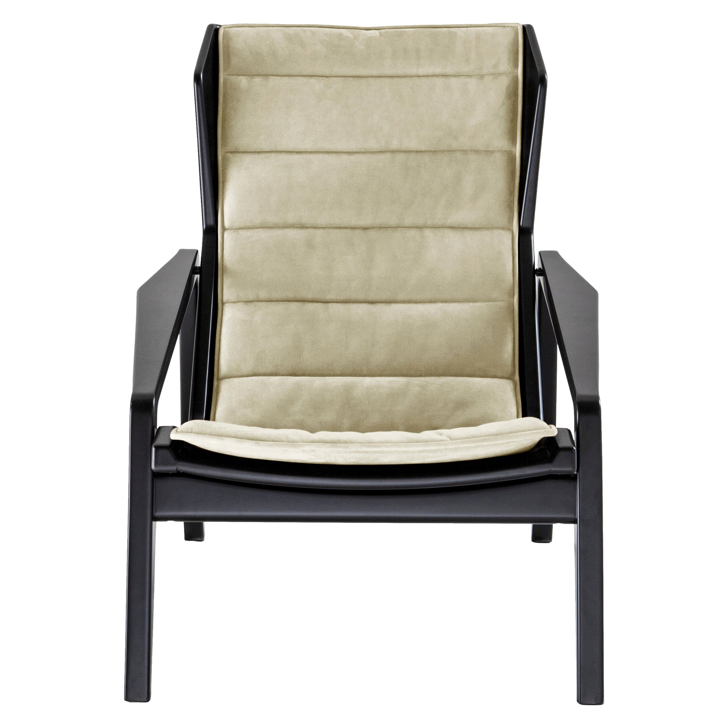 Molteni&C D.156.3 Armchair in Glossy Black Lacquered Wood & Velvet by Gio Ponti