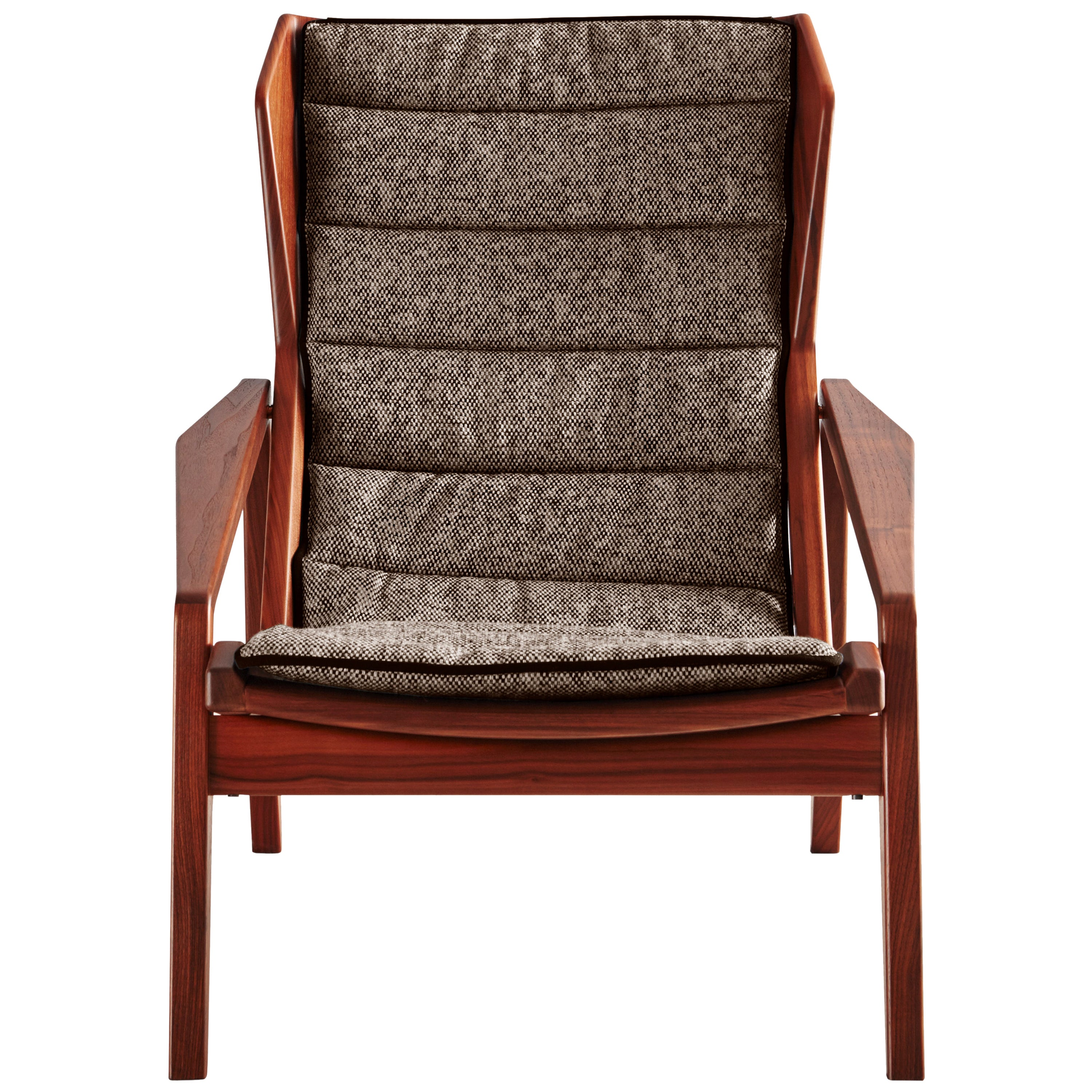 Molteni&C D.156.3 Armchair in American Walnut Structure and Linen by Gio Ponti