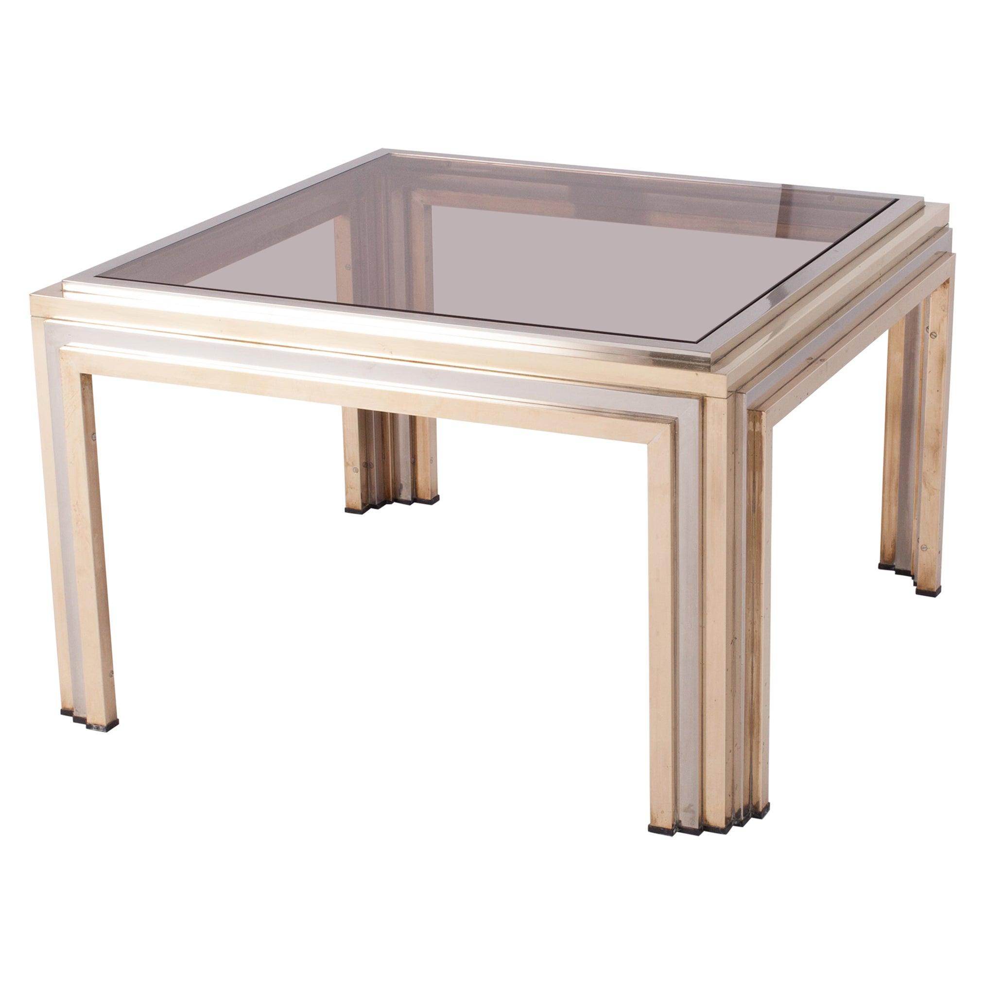 Romeo Rega Brass and Chrome Coffee Table