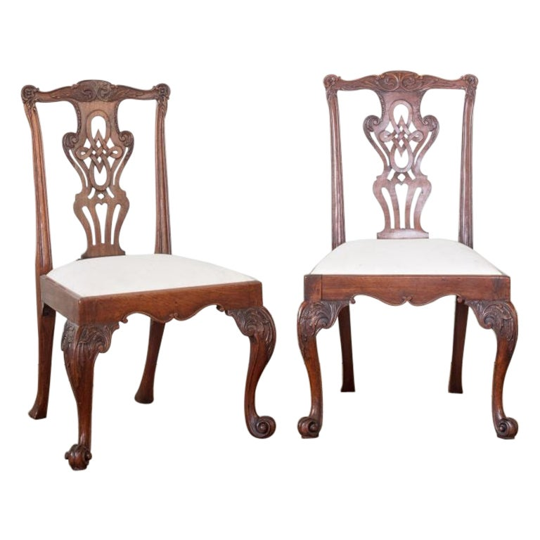 Set of Four George III Chippendale Period Mahogany Side Chairs