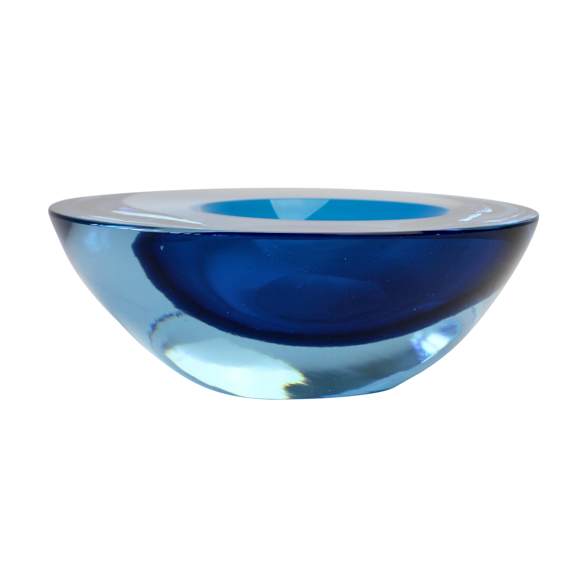 Large Cenedese Italian Asymmetric Blue Sommerso Murano Glass Bowl, Dish, Ashtray