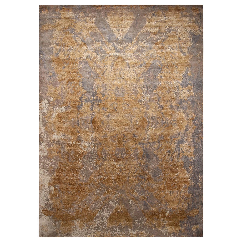 Rug & Kilim's Modern Beige-Gold and Gray Wool and Silk Rug