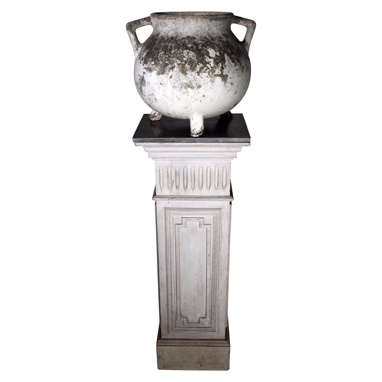 19th Century Wooden Pedestal and European Jardiniere