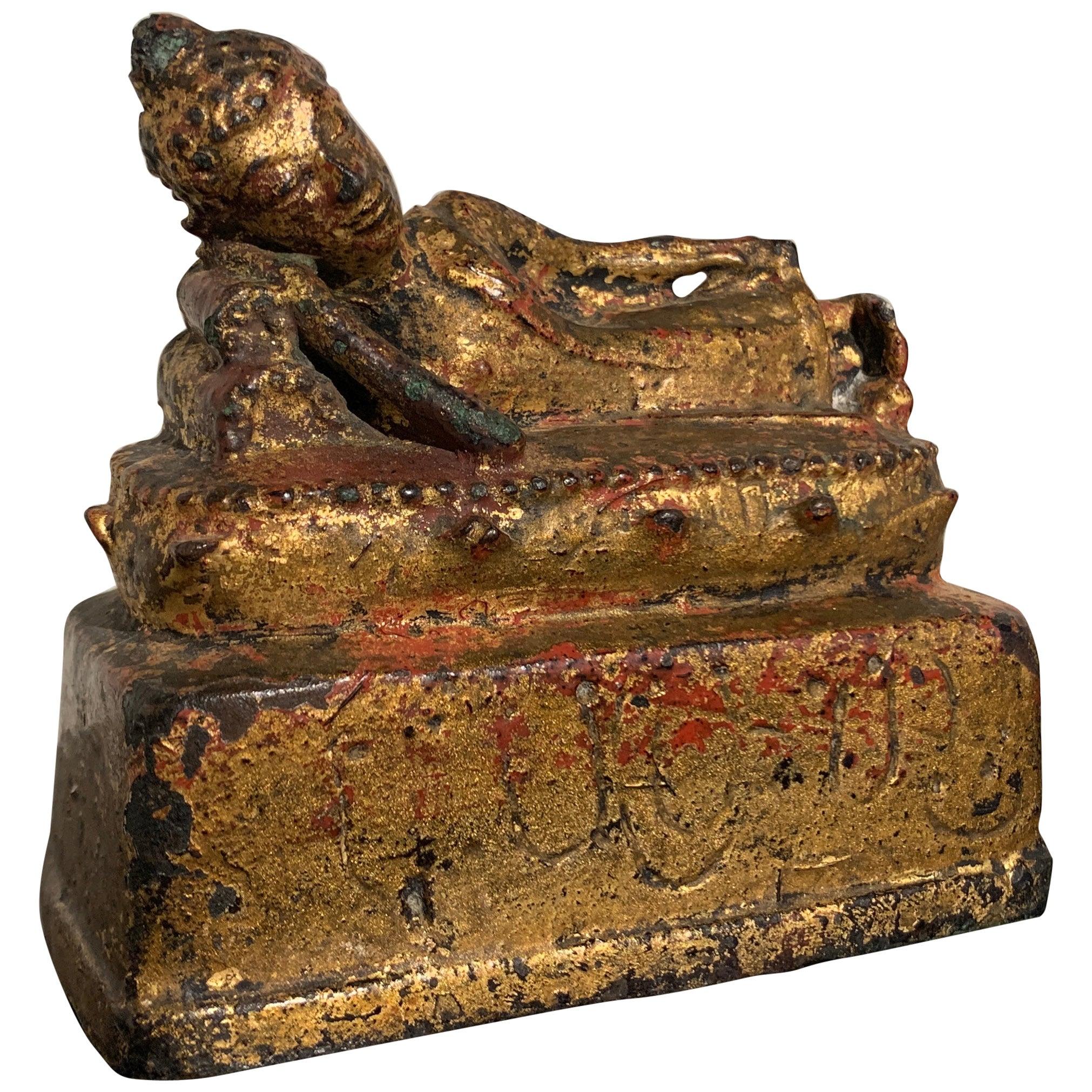 Thai Lanna Gilt Bronze Reclining Buddha, 16th Century, Northern Thailand