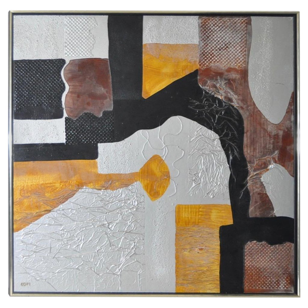 Mixed-Media Abstract Painting by COFI 'Jean-Christian Villat' circa 1980s