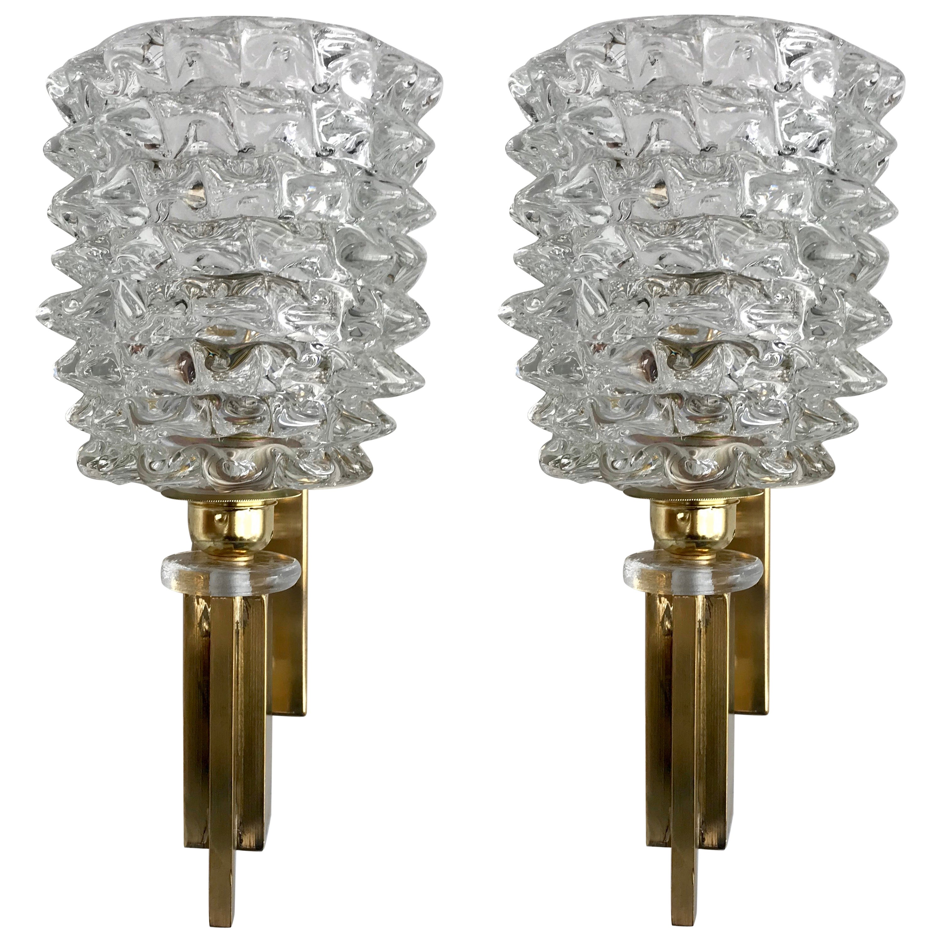 Pair of Italian Brass and Blown Murano Glass Sconces