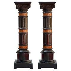 Fine Pair of Wooden Columns, Italy, Circa 1880