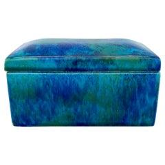 Antique Paul Jean Millet Sèvres Ceramic Box Polychrome Blue Green Glaze