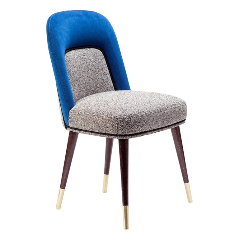 Dining Chair Frida in Solid Wood, Brass and Upholstery New