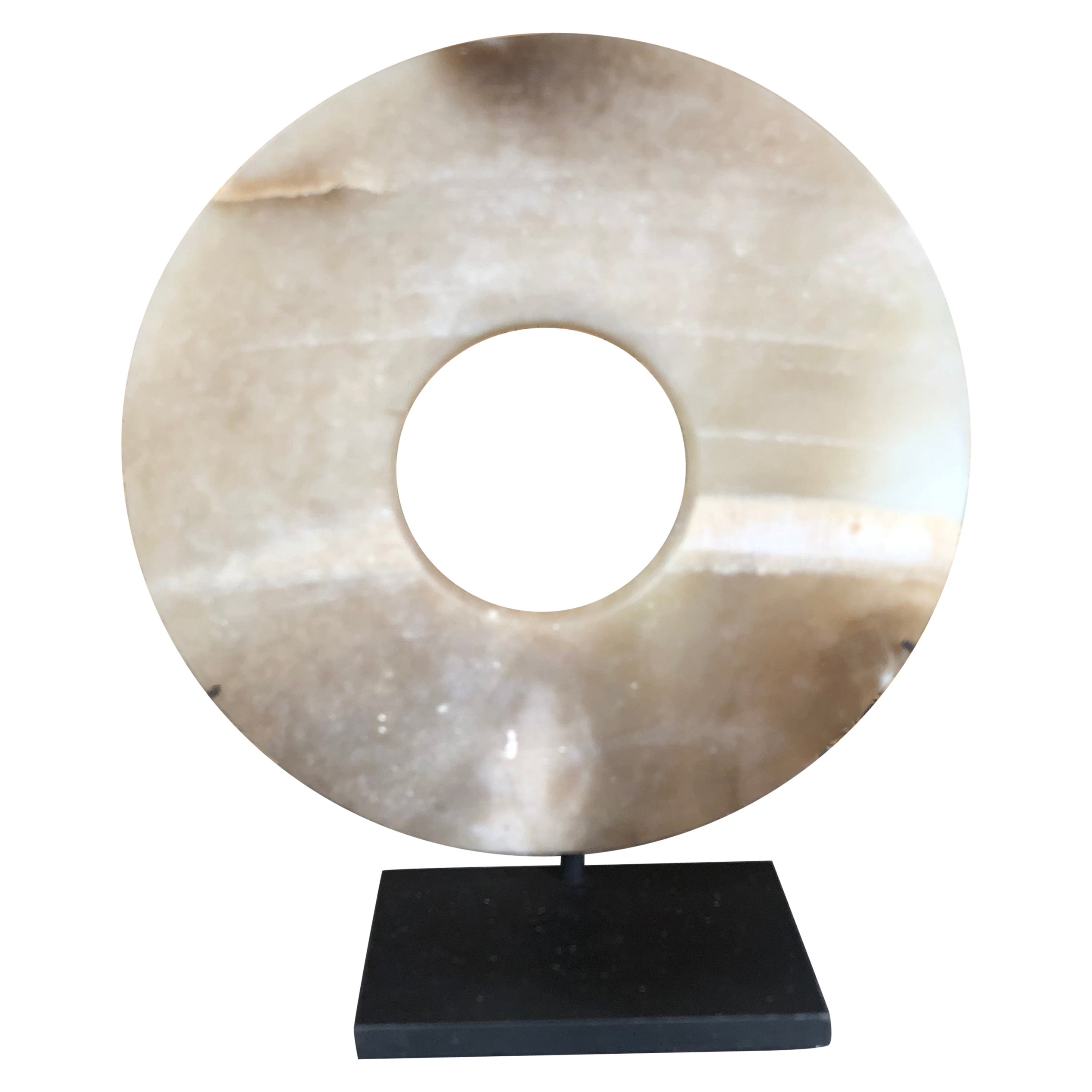 Important Ancient Superb Chinese Round Jade Bi Disc, 2000 BCE