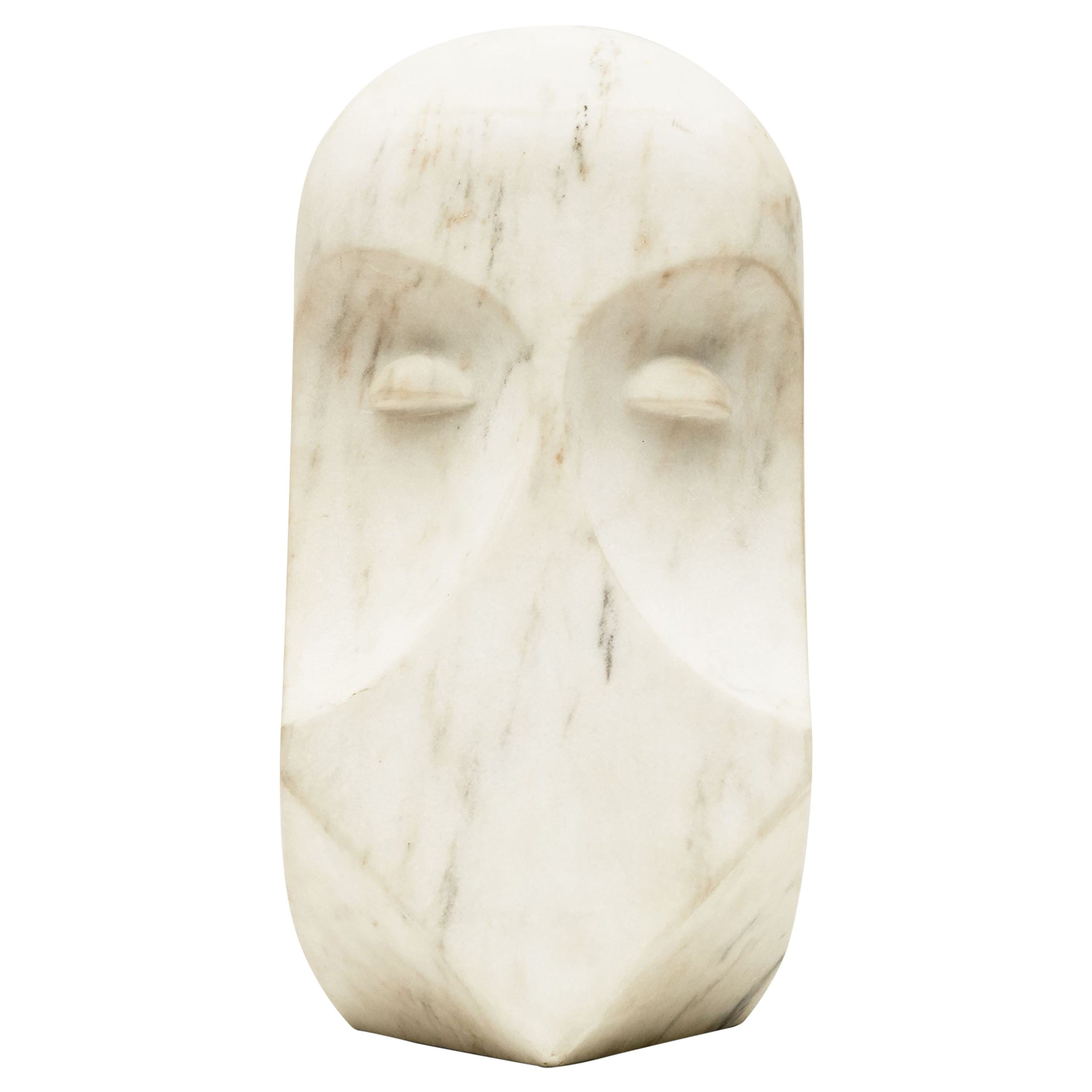 """Cesare Arduini, """"Omerta,"""" Abstract White Marble Sculpture, United States, 2014"""