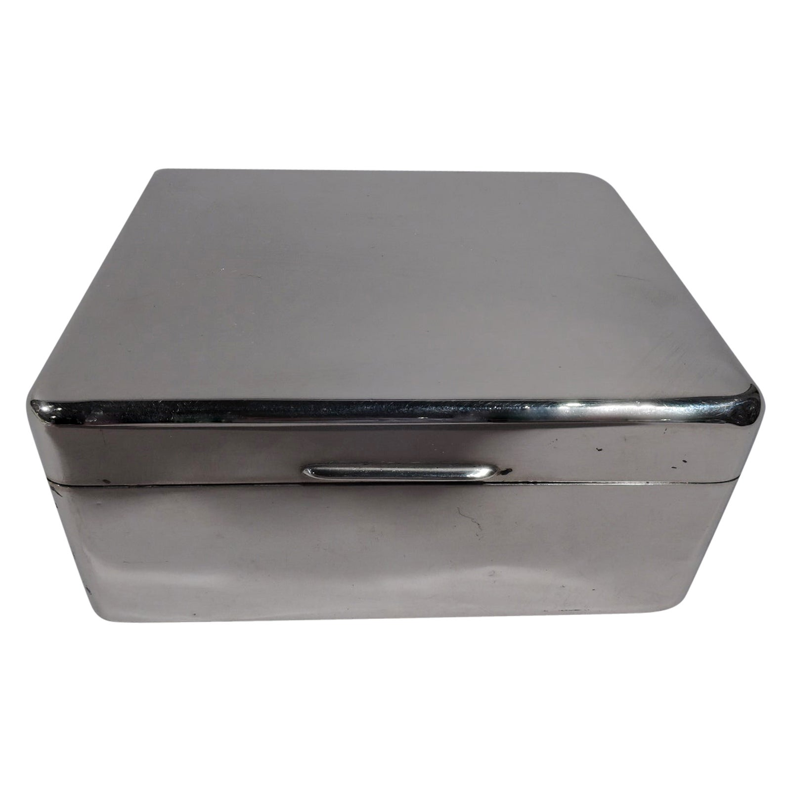 English Modern Smart and Small Sterling Silver Box
