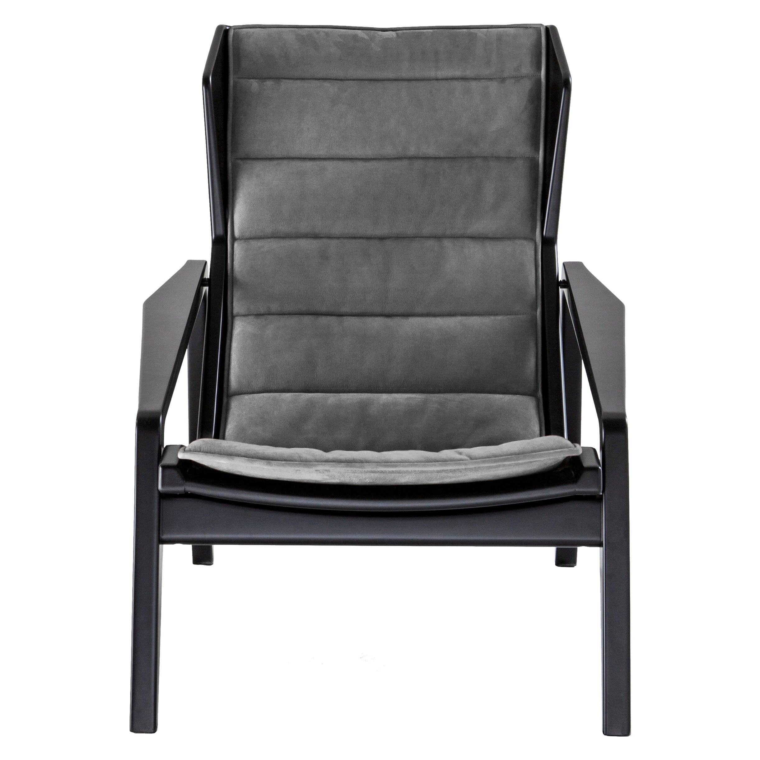 Molteni&C D.156.3 Armchair in Glossy Black Lacquered Wood & Chenille, Gio Ponti
