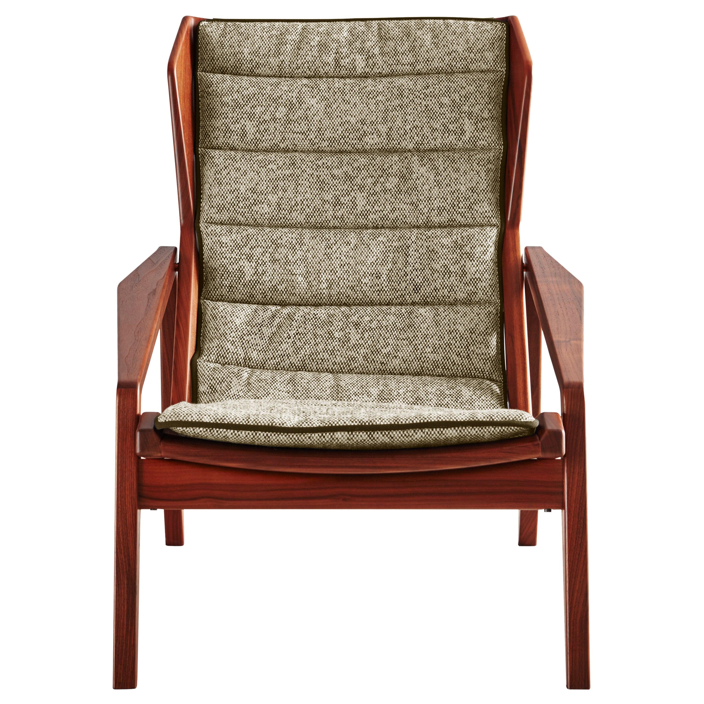 Molteni&C D.156.3 Armchair in American Walnut structure & Chenille by Gio Ponti