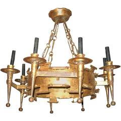 Midcentury Gilded Iron Hand-Forged Eight-Light French Chandelier