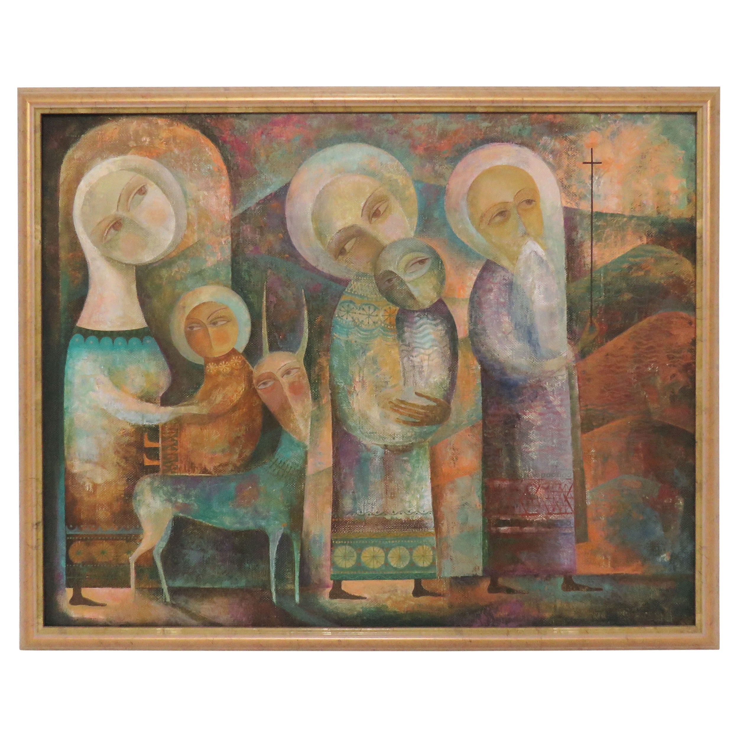 Modernist Russian Icon Painting by Armenian Artist A. Mouradian