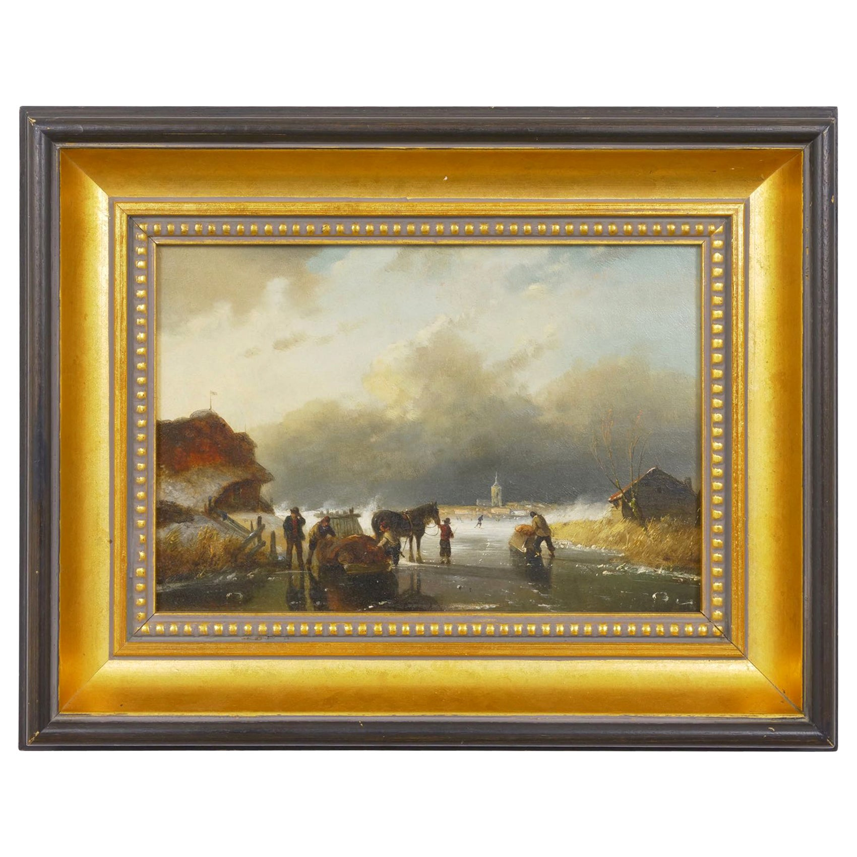 """Figures on Frozen Lake"" Winter Landscape Painting, Dutch, 19th Century"