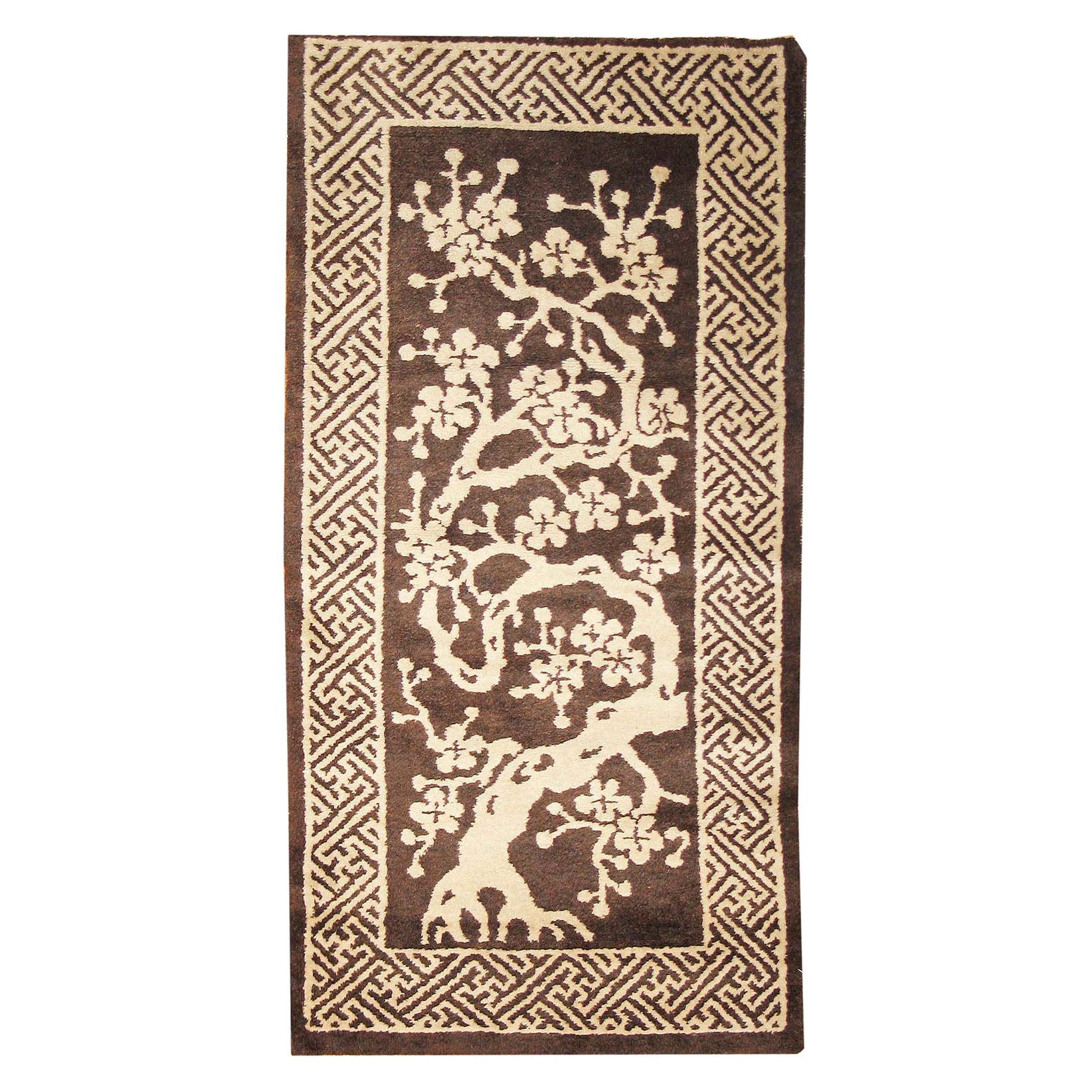 Small Brown Antique Peking Chinese Carpet