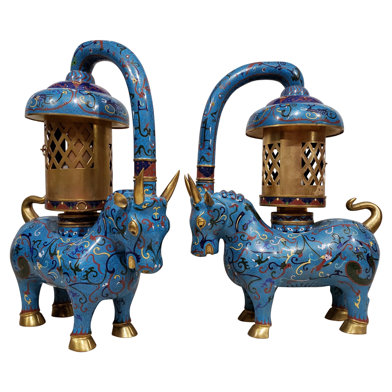 Large Pair of Chinese Cloisonné Enamel Lanterns